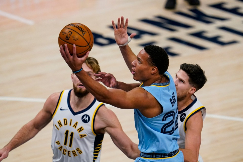 <strong>Memphis Grizzlies guard Desmond Bane (22) shoots in front of Indiana Pacers forward Domantas Sabonis (11) and guard T.J. McConnell in Indianapolis, Tuesday, Feb. 2, 2021.</strong> (Michael Conroy/AP)