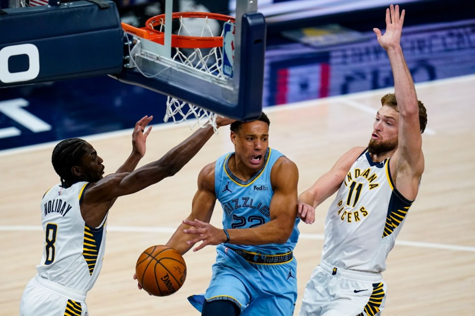 <strong>Memphis Grizzlies guard Desmond Bane (22) passes the ball from between Indiana Pacers guard Justin Holiday (8) and forward Domantas Sabonis (11)&nbsp;in Indianapolis, Tuesday, Feb. 2, 2021.</strong> (Michael Conroy/AP)