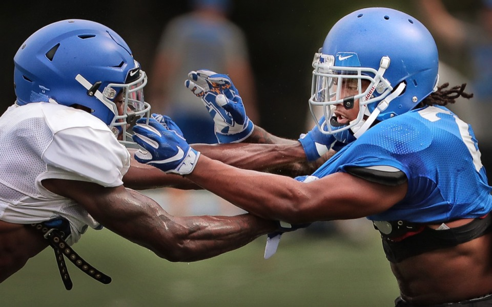 <strong>All-conference defensive back T.J. Carter (right, in 2019) is one of 11 Tigers to enter the transfer portal.</strong> (Jim Weber/Daily Memphian)