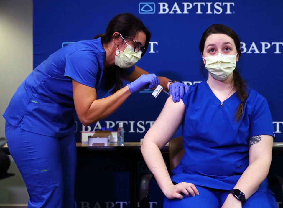 <strong>Frontline healthcare workers get vaccinated for COVID-19 at Baptist Memorial Hospital Dec. 17, 2020.</strong> (Patrick Lantrip/Daily Memphian)
