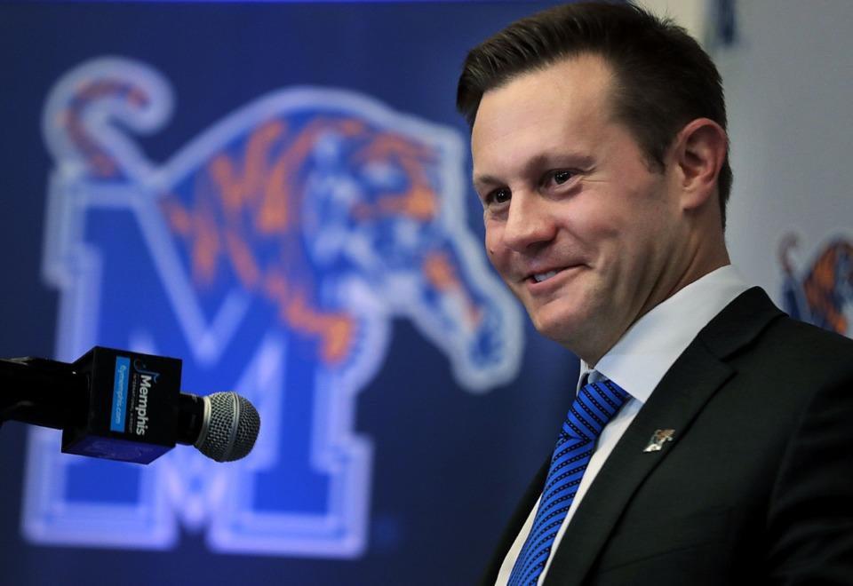 <strong>University of Memphis head football coach Ryan Silverfield answers questions on Dec. 13, 2019.</strong> (Jim Weber/Daily Memphian file)