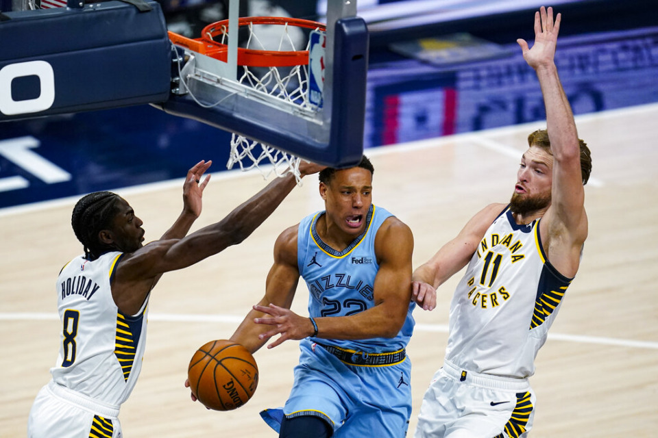 <strong>Memphis Grizzlies guard Desmond Bane (22) passes the ball from between Indiana Pacers guard Justin Holiday (8) and forward Domantas Sabonis (11) during the first half of an NBA basketball game in Indianapolis, Tuesday, Feb. 2, 2021.</strong> (AP Photo/Michael Conroy)