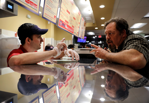 <strong>Andy Manzo takes Jeff Williams' order during a friends and family night at Jersey Mike's Bartlett location Monday, Jan. 7, 2019. The new store at 7780 U.S. 64 is the franchise's second Mid-South location.</strong> (Patrick Lantrip/Daily Memphian)