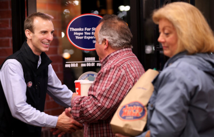 <strong>Jeff Hoover, co-owner of Jersey Mike's Subs local franchise, shakes hands with customers during a friends and family night Monday, Jan. 7. Hoover's second area Jersey Mike's location opens Wednesday, Jan. 9.</strong> (Patrick Lantrip/Daily Memphian)