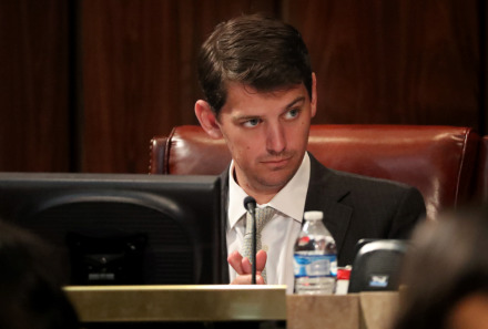 <strong>Councilman Worth Morgan raises an eyebrow to a comment made by a fellow Memphis City Council member Tuesday, Jan. 8, 2019. Morgan says the council shouldn't back just any sports betting bill that comes along. Two versions of the legislation already are taking shape in Nashville.</strong> (Patrick Lantrip/Daily Memphian)