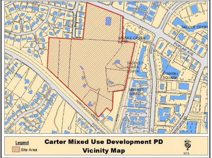 <strong>A $164 million development called Germantown Town Center was destined for 32 acres of the Arthur family land, outlined in red. Fourteen of those acres could be sold at a July tax sale to satisfy delinquent back taxes. </strong>(Submitted)