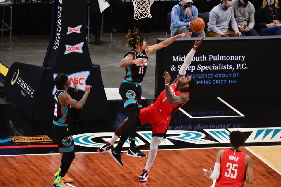 <strong>Memphis Grizzlies forward Brandon Clarke (15) blocks a shot by Houston Rockets guard John Wall (1) on Feb. 4, 2021, Tenn.</strong> (Brandon Dill/AP)