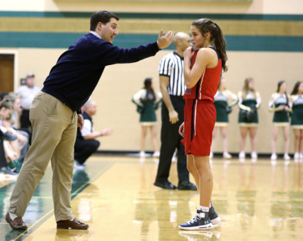 <strong>Tipton-Rosemark Academy women's basketball coach Cameron Pridemore speaks with guard Ryleigh Bowers (4) during a game against FACS on Tuesday, Jan. 8, 2019.</strong> (Houston Cofield/Daily Memphian)