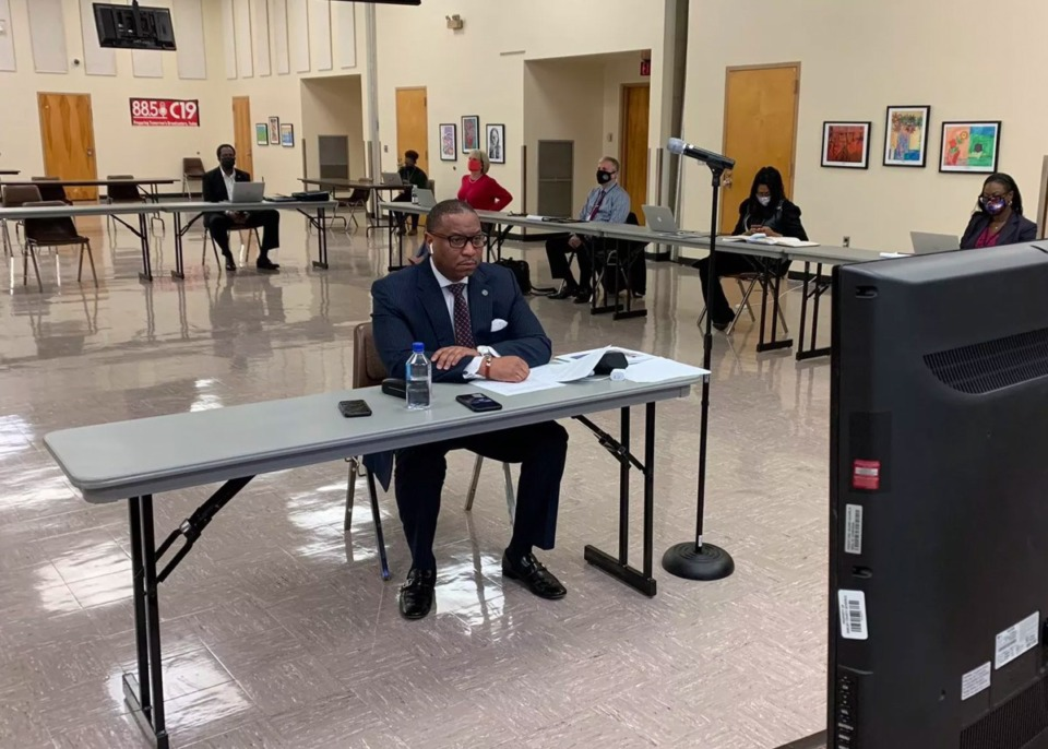 <strong>Superintendent Joris Ray updates school board members on the district&rsquo;s plan to reopen classrooms Thursday, Feb. 4, 2021.</strong> (Courtesy Shelby County Schools)