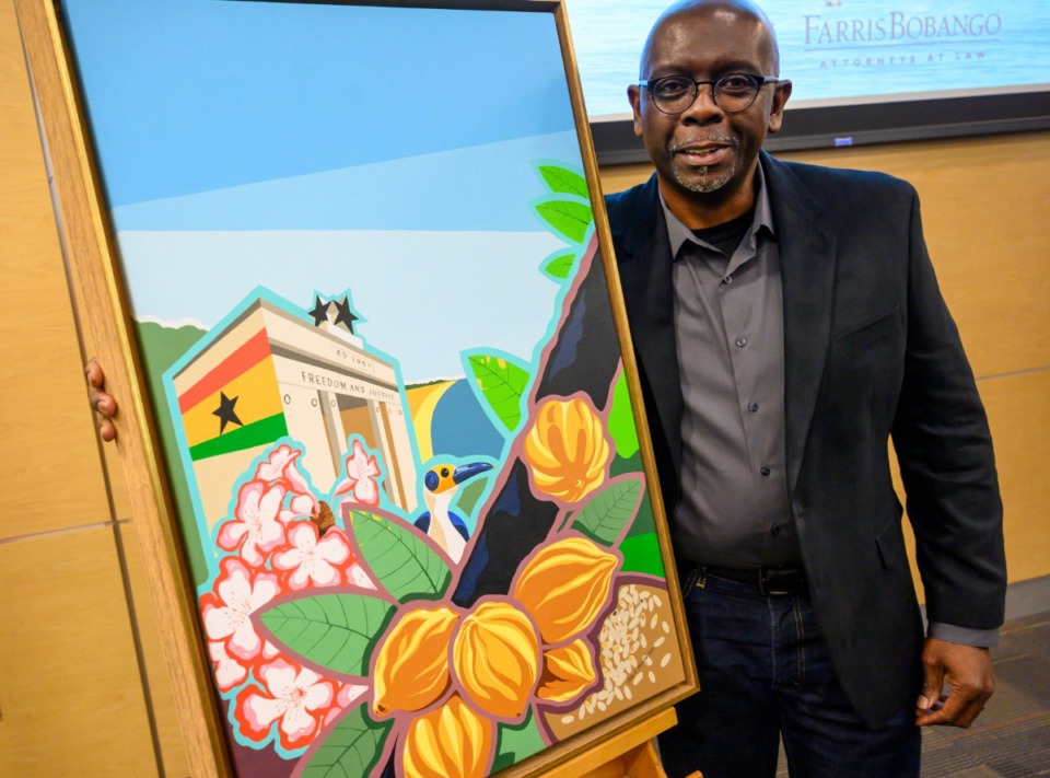 <strong>Carl Moore&rsquo;s painting was chosen for the 2020 Memphis in May poster honoring the Republic of Ghana. The unveiling ceremony was Feb. 4, 2020. On Friday, Feb. 5, 2021, Memphis in May announced that the festival would be delayed again, until 2022.</strong> (Greg Campbell/Special to the Daily Memphian file)