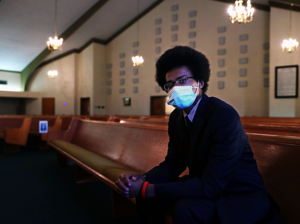 <strong>Justin Pearson, co-founder of a grassroots group leading the fight against the Byhalia Connection pipeline, poses on Feb. 5, 2021, for a portrait at his church, Mt. Pisgah Baptist Church, which stands adjacent to where the pipeline will run.</strong> (Patrick Lantrip/Daily Memphian)