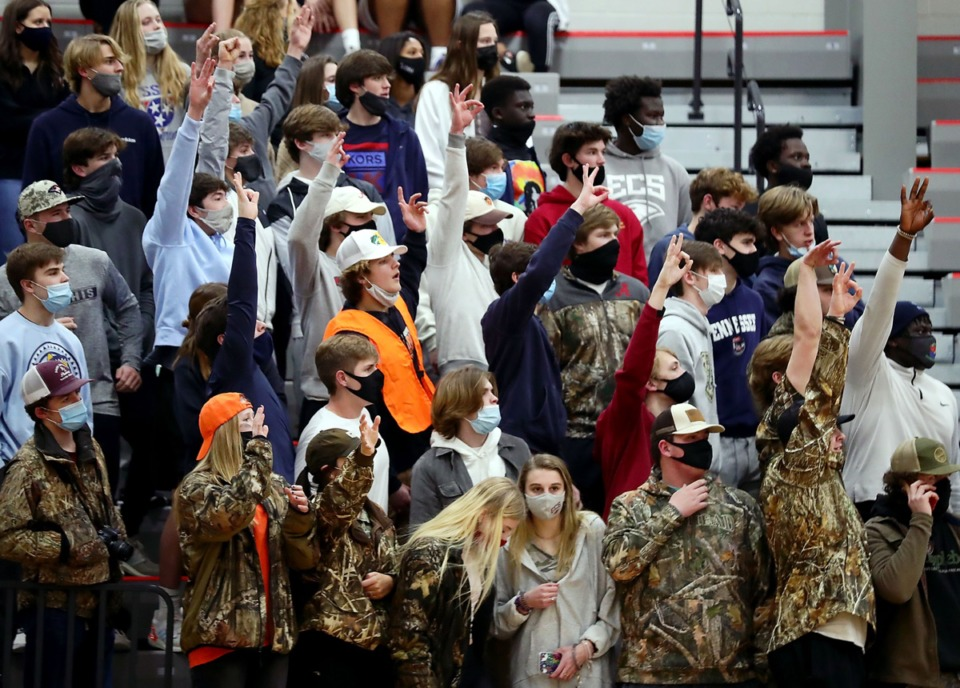 <strong>The ECS student section was welcomed back into the stadium on Feb. 5, 2021, for the game against FACS.</strong> (Patrick Lantrip/Daily Memphian)