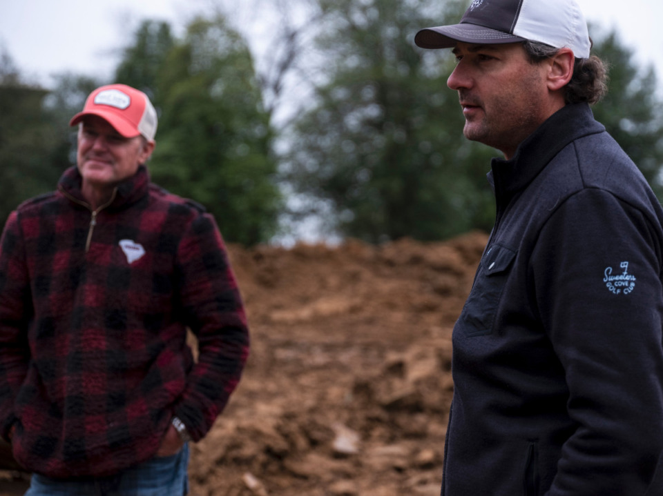 <strong>&ldquo;A golf course is a landscape sculpture,&rdquo; said Rob Collins (right) of King-Collins Golf Design, with the &ldquo;sculptor&rdquo; Marc Burger (left), Thursday, Feb. 4, 2021 at Overton Park. </strong>(Brad Vest/Special to Daily Memphian)