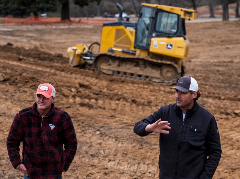 <strong>Marc Burger, (left) shaper, and Rob Collins King-Collins Golf Design, talk about the renovation of the Overton Park Golf Course, Thursday, Feb. 4, 2021. </strong>(Brad Vest/Special to Daily Mempian)