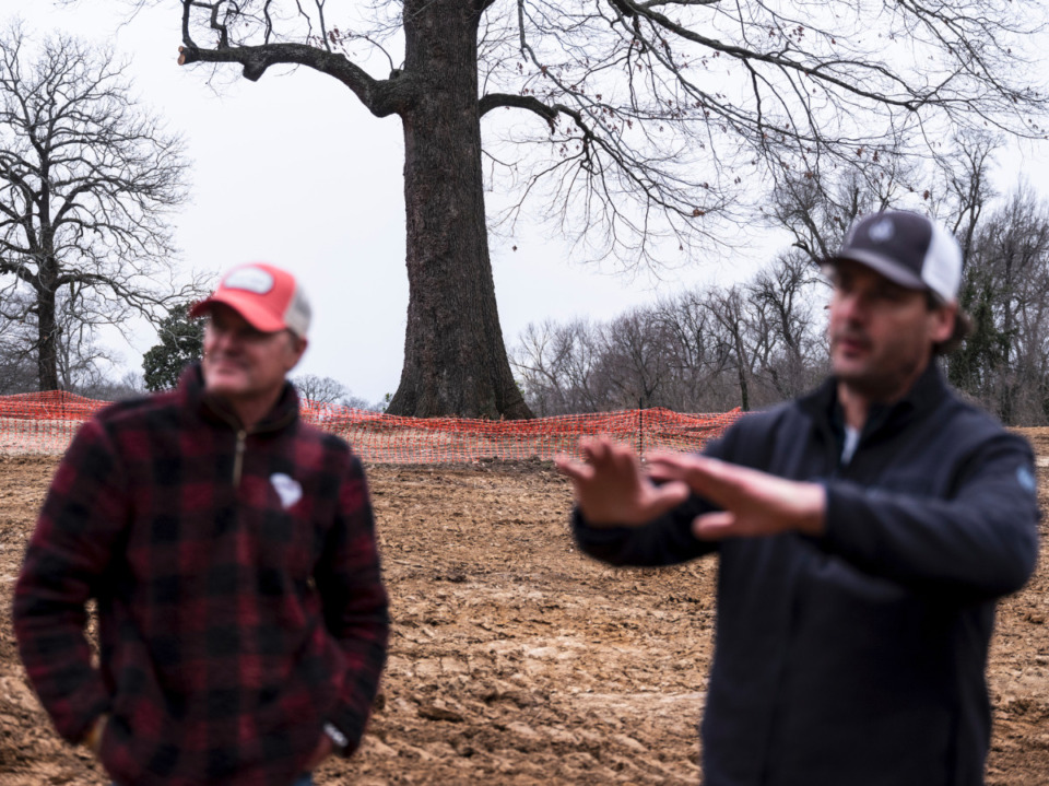 <strong>&ldquo;Very fine grading,&rdquo; Rob Collins (right) said of the work done at Overton Park by Marc Burger (left). &ldquo;Marc&rsquo;s grading is down to the inch, basically.&rdquo;&nbsp;</strong>(Brad Vest/Special to Daily Memphian)