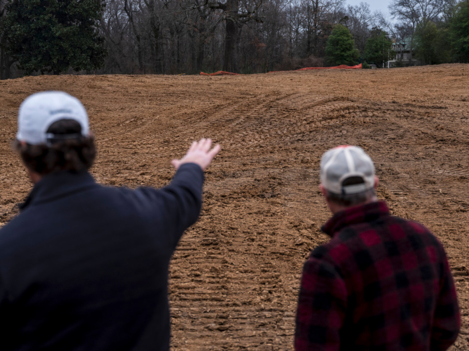 <strong>&ldquo;The most fun part of golf course architecture is doing the stuff we&rsquo;re doing right now,&rdquo; Rob Collins (left) said. He goes over the details of the renovation of the Overton Park Golf Course with shaper Marc Burger, Feb. 4, 2021.</strong> (Brad Vest/Special to Daily Memphian)