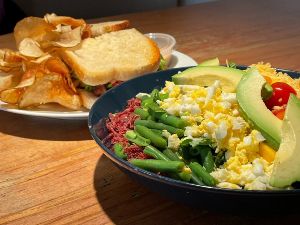 <strong>The Thai Cobb salad at Beauty Shop is Jennifer Biggs&rsquo; favorite, and the jerk fish sandwich is served on thick toast with thin house-made chips.</strong> (Jennifer Biggs: Daily Memphian)