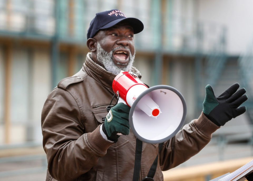 <strong>Batsell Booker speaks during a rally against the Byhalia Connection pipeline on Monday, Feb. 8, 2021, outside the National Civil Rights Museum. Demonstrators marched from the museum to the Shelby County Commission meeting.</strong> (Mark Weber/The Daily Memphian)