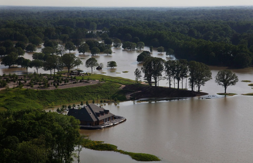 <strong>Mirimichi Golf Course is entirely submerged by floodwaters from Big Creek in 2018.</strong> (Photo by Lance Murphey/Daily Memphian file)