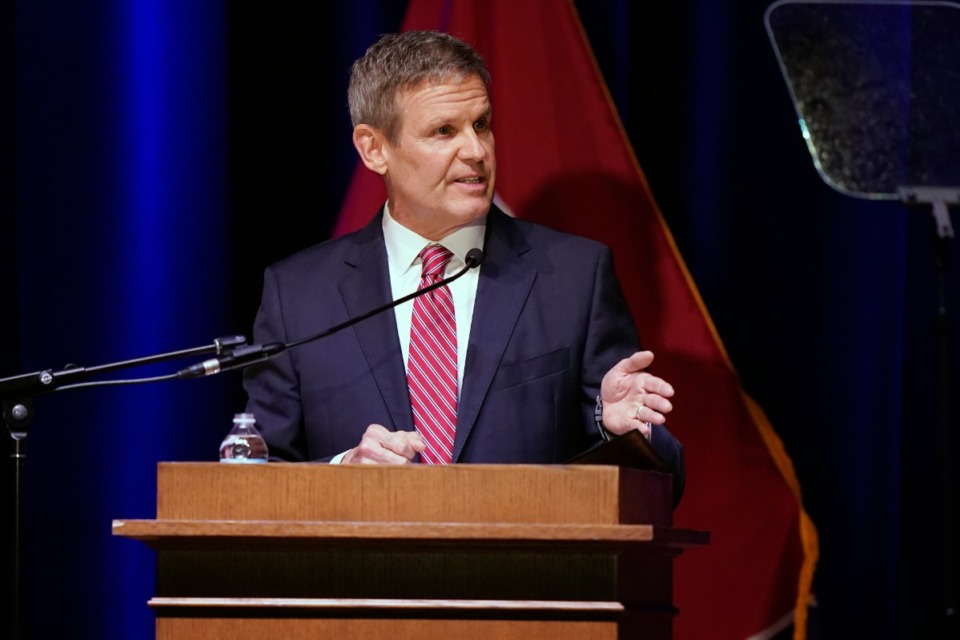 <strong>Tennessee Gov. Bill Lee delivers his State of the State Address in War Memorial Auditorium, Monday, Feb. 8, 2021, in Nashville.</strong> (Mark Humphrey/AP)