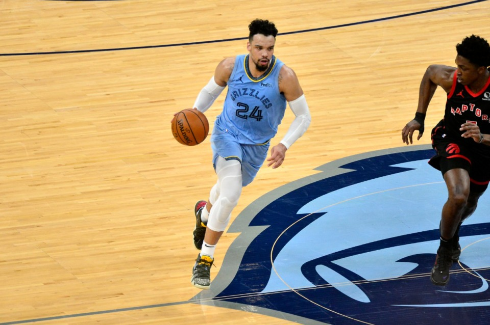 <strong>Memphis Grizzlies guard Dillon Brooks (24) takes the ball upcourt against the Toronto Raptors on Feb. 8. Dillon scored 22 points Monday night, second for the Grizz after Jonas Valanciunas&rsquo; 27.</strong> (Brandon Dill/AP)