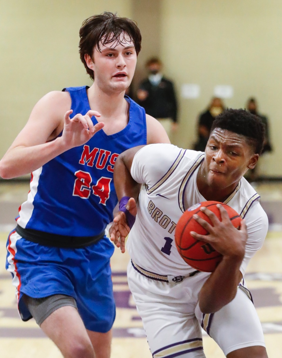 <strong>Christian Brothers guard Chandler Jackson (right) drives the lane against MUS&rsquo; Gavin Murrey (left) on Tuesday, Feb. 9, 2021.</strong> (Mark Weber/The Daily Memphian)