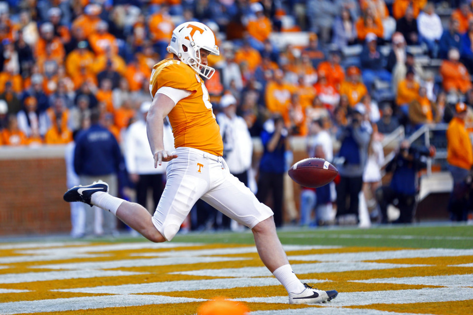 <strong>Former Tennessee punter Joe Doyle (seen here in 2018) announced his commitment to Memphis</strong>. (AP Photo/Wade Payne)