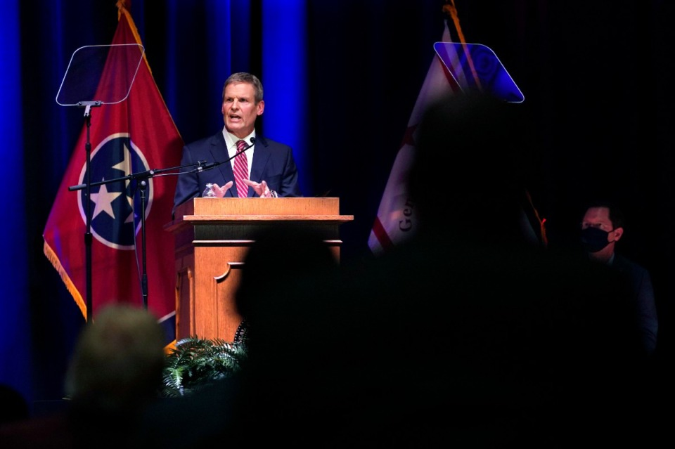 <strong>Tennessee Gov. Bill Lee delivers his State of the State Address in War Memorial Auditorium, Monday, Feb. 8, 2021, in Nashville, Tennessee.&nbsp;</strong>(AP Photo/Mark Humphrey)