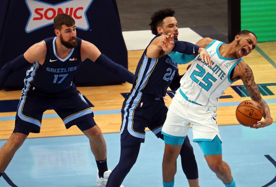 <strong>Memphis Grizzles guard Dylan Brooks (24) tries to steal the ball from Charlotte Hornets forward P.J. Washington (25) at FedExForum Feb.10.</strong> (Patrick Lantrip/Daily Memphian)