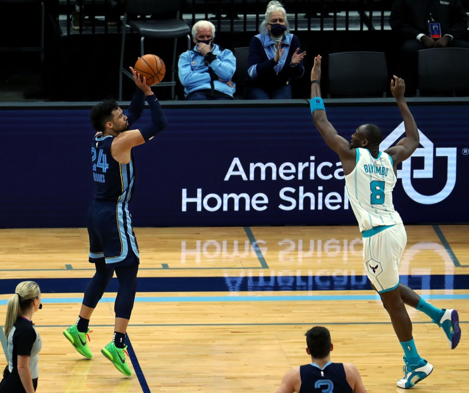 <strong>Grizzlies forward Dillon Brooks (24) shoots pne of the many 3-pointers the Grizzlies sank during the Feb. 10 game against the Charlotte Hornets.</strong> (Patrick Lantrip/Daily Memphian)