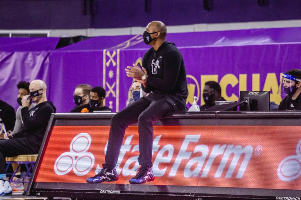 <strong>Coach Penny Hardaway (in a file photo from the Tigers&rsquo; game vs ECU, Jan. 24)&nbsp;</strong> (Houston McCullough/ECU Athletics)