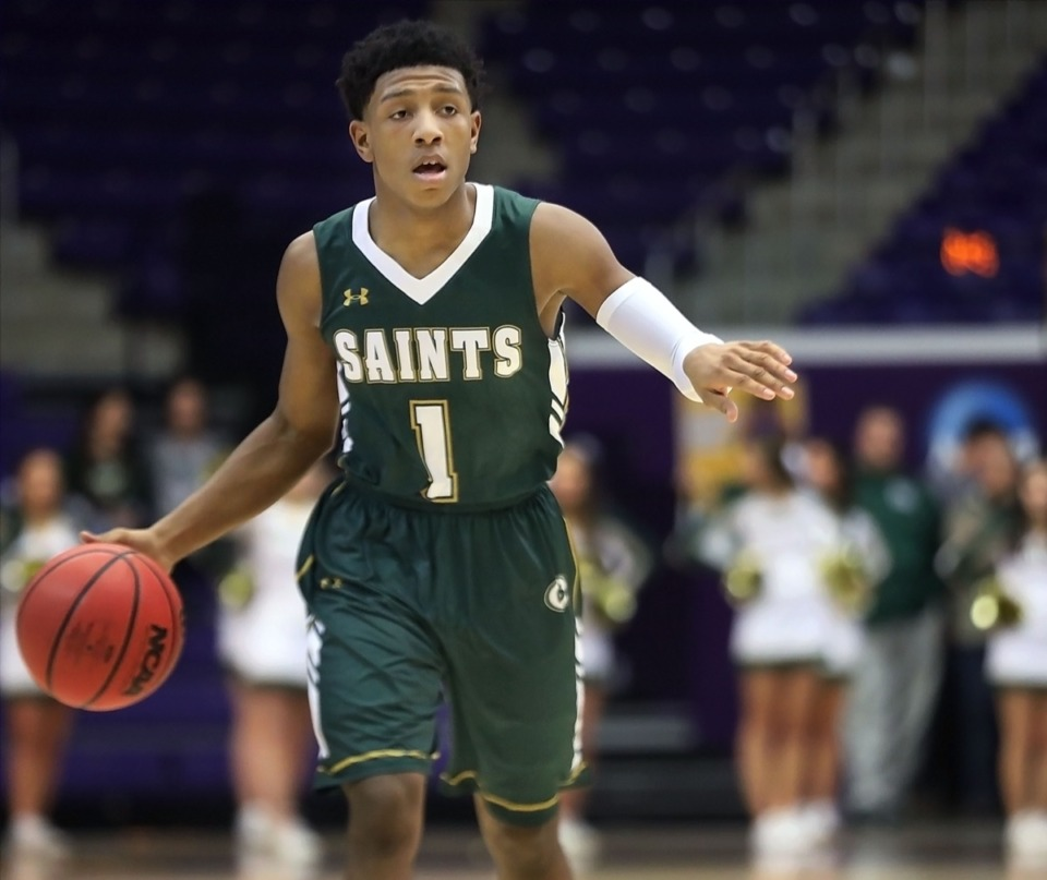 <strong>Kennedy Chandler (1), a two-time Mr. Basketball at Briarcrest before transferring to Kansas, will returm for the NIBC championship, hosted in Memphis.</strong> (Patrick Lantrip/Daily Memphian)