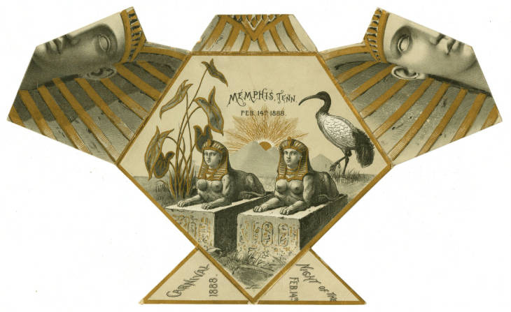 <strong>Memphis Mardi Gras returned after the Yellow Fever epidemic of 1878. Despite this ornate invitation from 1888, the event never returned to the grand scale it took on before the epidemic. The last Memphis Mardi Gras was held in 1901.</strong>&nbsp;(Memphis and Shelby County Room, Memphis Public Library &amp; Information Center)