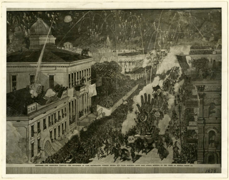 <strong>Memphis Mardi Gras in the 1870s was organized as a way to promote the city as a center of business and commerce much like the Cotton Carnival and Memphis in May International Festival that followed.</strong>&nbsp;(Memphis and Shelby County Room, Memphis Public Library &amp; Information Center)