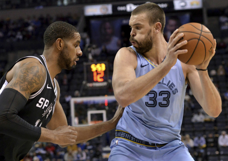 <strong>Memphis Grizzlies center Marc Gasol (33) controls the ball next to San Antonio Spurs forward LaMarcus Aldridge during the first half of an NBA game Wednesday, Jan. 9, 2019, in Memphis.</strong> (AP Photo/Brandon Dill)