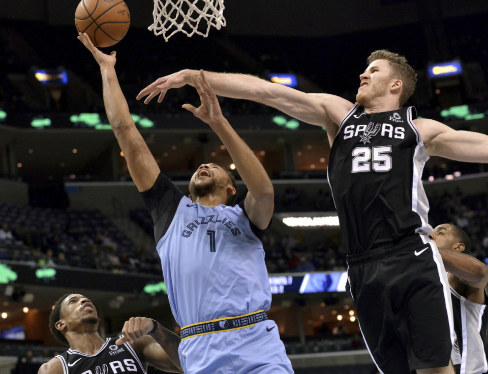 <strong>Memphis Grizzlies forward Kyle Anderson (1) shoots as San Antonio Spurs center Jakob Poeltl (25) and guard DeMar DeRozan defend during the first half of an NBA game Wednesday, Jan. 9, 2019, in Memphis.</strong> (AP Photo/Brandon Dill)