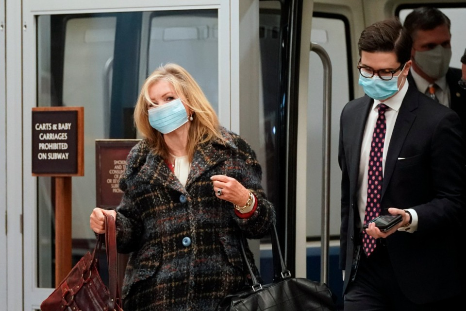 <strong>Sen. Marsha Blackburn exits the Senate subway on Capitol Hill in Washington, Saturday, Feb. 13, 2021, on the fifth day of the second impeachment trial of former President Donald Trump.</strong> (Alex Brandon/AP)