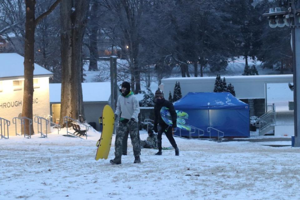 <strong>A handful of people sledded Sunday, Feb. 14, 2021 near Levitt Shell in Overton Park.</strong> (Daja Henry/Daily Memphian)