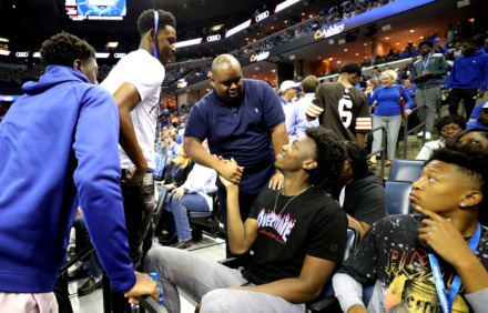 <strong>University of Memphis basketball signee James Wiseman (center) shakes hands with fans at Memphis Madness on Oct. 4, 2018, at FedExForum.</strong> (Houston Cofield/Daily Memphian file)