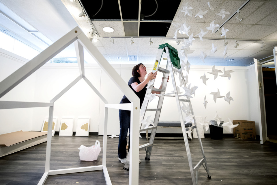 "<strong>Memphis artist Katie Maish installs her exhibition ""Labor"" inside the Beverly &amp; Sam Ross Gallery at Christian Brothers University on Tuesday, Jan. 8, 2019. Maish's work will be on display in the gallery and Metal Museum artists will have work displayed in the gallery's foyer with an opening reception on Friday, Jan. 18, 2019.</strong> (Houston Cofield/Daily Memphian)"
