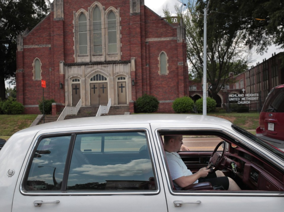 <strong>A neighborhood organization has created a contest to promote an adaptive reuse of the vacant Highland Heights United Methodist Church, seen here in 2019.</strong> (Daily Memphian file)