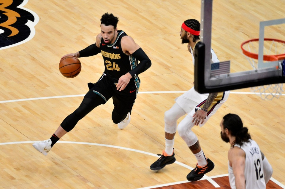 <strong>Memphis Grizzlies guard Dillon Brooks (24) handles the ball in the first half of an NBA basketball game against the New Orleans Pelicans Tuesday, Feb. 16, 2021, in Memphis, Tennessee</strong>. (AP Photo/Brandon Dill)
