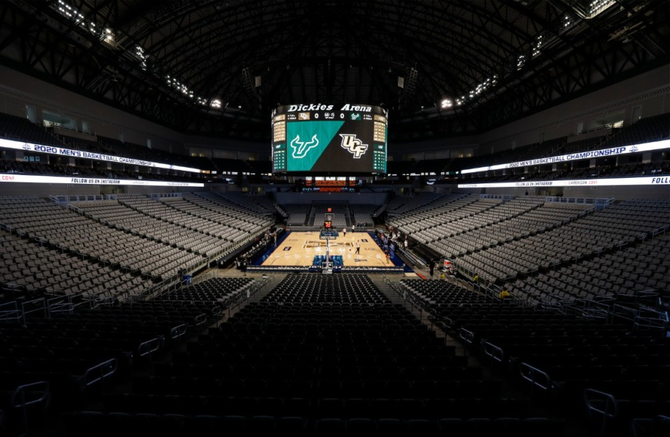 <strong>An empty Dickies Arena on March 12, 2020, moments after American Athletic Conference officials announced the cancellation of the men&rsquo;s conference basketball tournament in Fort Worth, Texas. The AAC announced Wednesday, Feb. 17, that fans will be allowed at this year&rsquo;s tournament next month.</strong> (Mark Weber/Daily Memphian file)