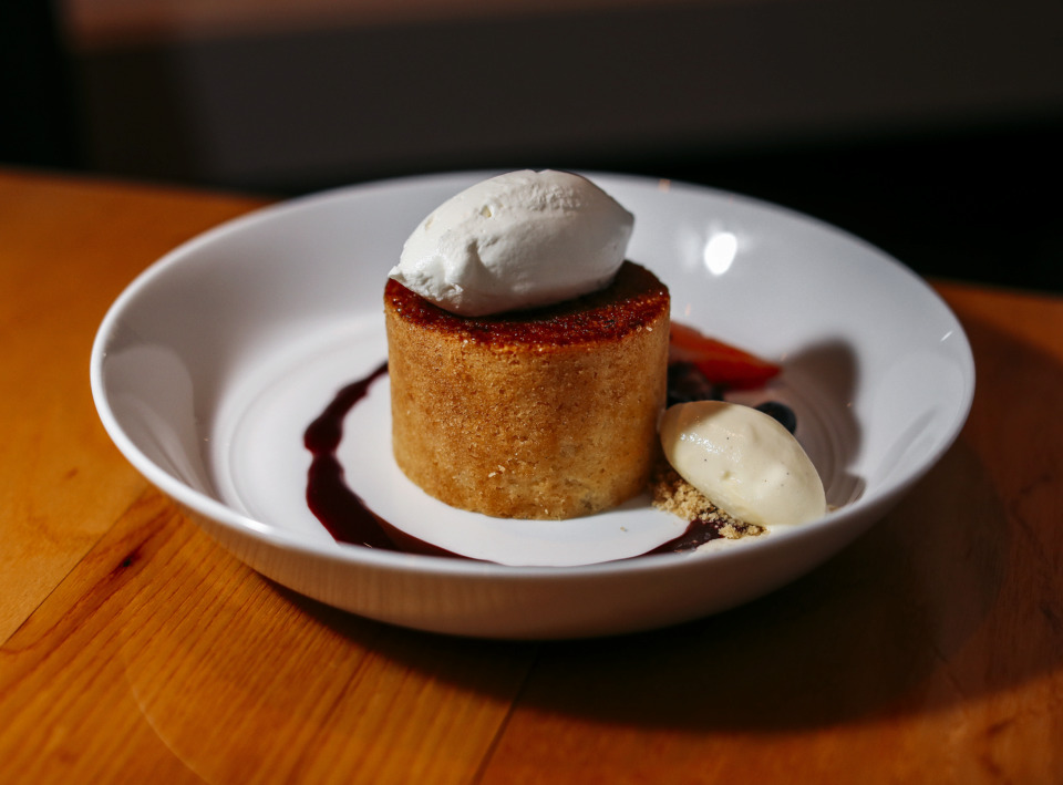 <strong>The buttercake dessert, served with a brulee crust and a scoop of gelato, is prepared daily &ndash; except Sunday &ndash; by pastry chef Derek Buchanan at P.O. Public House &amp; Provision's menu.</strong> (Houston Cofield/Daily Memphian)