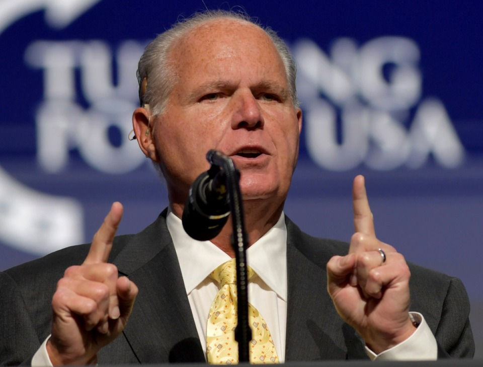 <strong>Talk radio host Rush Limbaugh, seen here in December, died Feb. 17.</strong> (Courtesy hoo-me/MediaPunch/IPX)