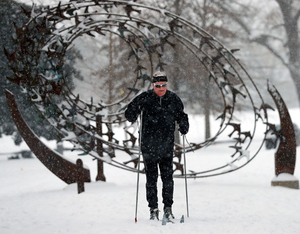 <strong>Mike Leslie takes advantage of a rare chance to cross-county ski in Overton Park on Wednesday, Feb. 17.</strong> (Patrick Lantrip/Daily Memphian)