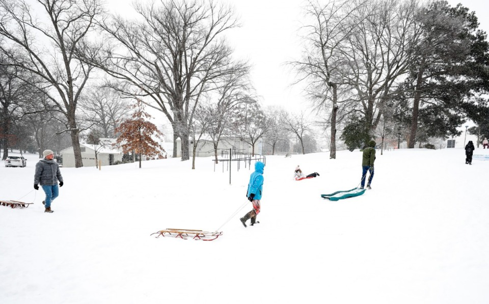 <strong>Sledders head up a hill during a heavy snow storm in Overton Park on Monday, Feb. 15.</strong> (Mark Weber/Daily Memphian)