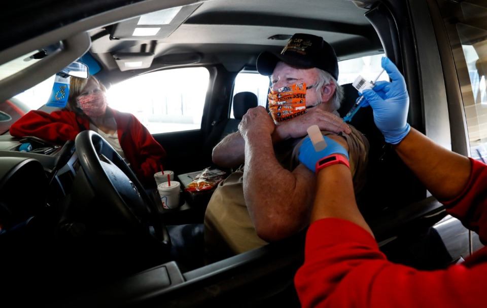 <strong>Air Force veteran Jerry Capooth received a COVID-19 vaccination at the Memphis VA Medical Center in January.</strong> (Mark Weber/The Daily Memphian file)