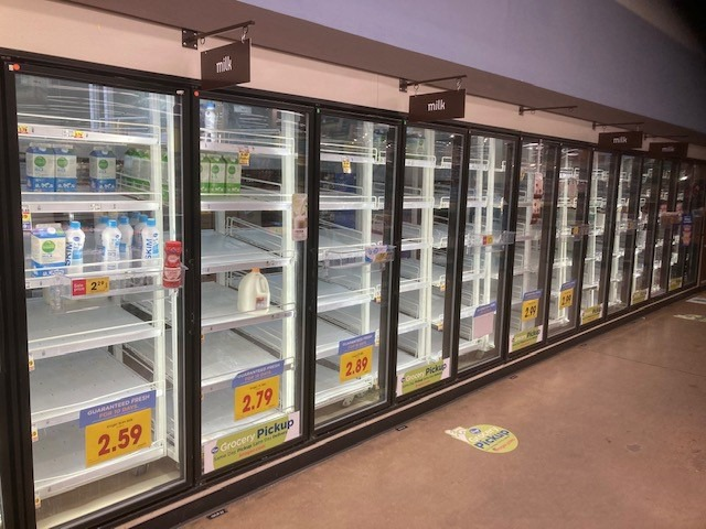 <strong>Milk supplies were particularly hard hit at the Kroger at Trinity and Germantown Parkway, as seen Feb. 18.</strong>&nbsp;(Submitted)