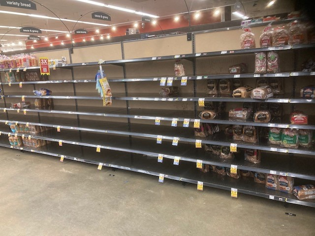 <strong>This is, theoretically, the bread aisle at the Kroger located at Trinity and Germantown Parkway on Feb. 18.</strong> (Submitted)
